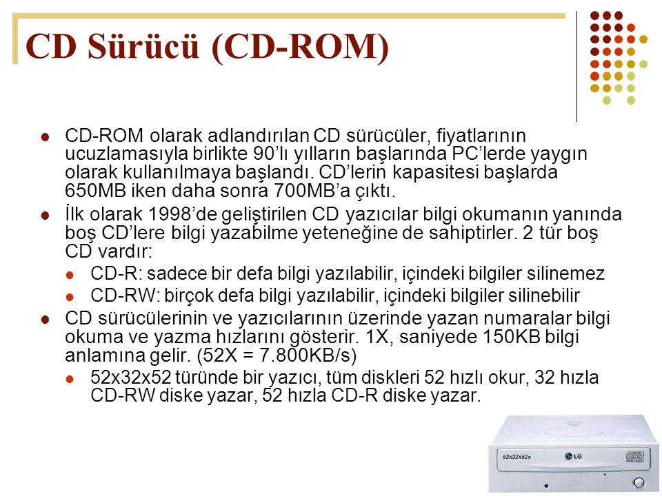 51  CD-ROM olarak adlandırılan CD sürücüler, fiyatlarının ucuzlamasıyla birlikte 90'lı yılların başlarında PC'lerde yaygın olarak kullanılmaya başlan