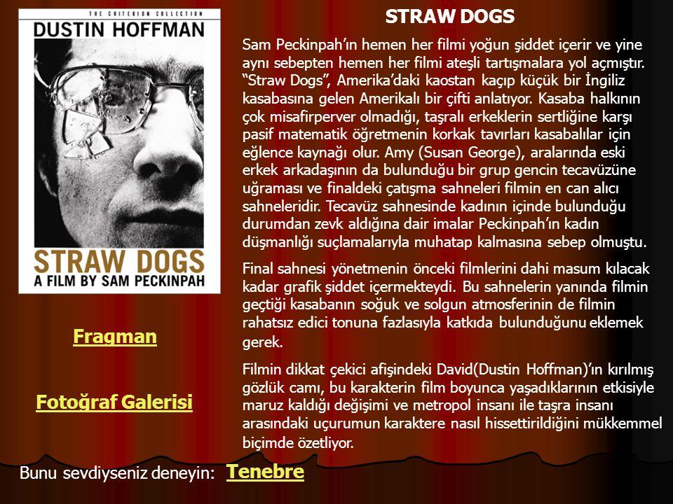 """Sam Peckinpah'ın hemen her filmi yoğun şiddet içerir ve yine aynı sebepten hemen her filmi ateşli tartışmalara yol açmıştır. """"Straw Dogs"""", Amerika'dak"""