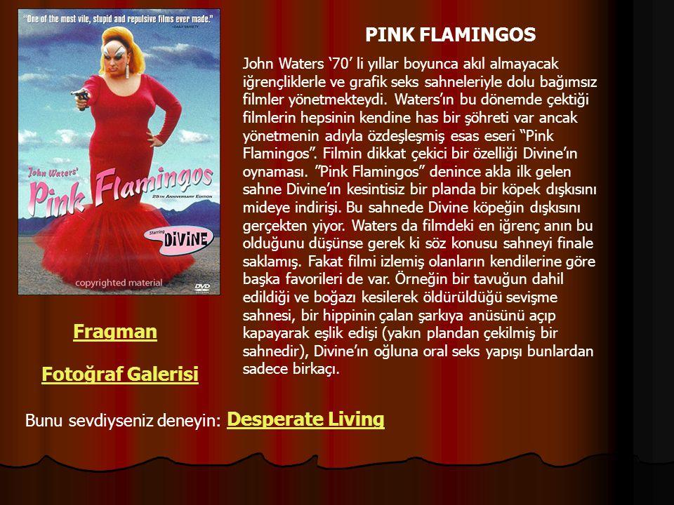 PINK FLAMINGOS John Waters '70' li yıllar boyunca akıl almayacak iğrençliklerle ve grafik seks sahneleriyle dolu bağımsız filmler yönetmekteydi. Water