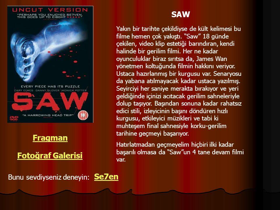 """SAW Fragman Fotoğraf Galerisi Bunu sevdiyseniz deneyin: Yakın bir tarihte çekildiyse de kült kelimesi bu filme hemen çok yakıştı. """"Saw"""" 18 günde çekil"""