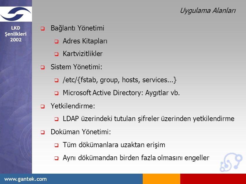 LKD Şenlikleri 2002 www.gantek.com Uygulama Alanları  Bağlantı Yönetimi  Adres Kitapları  Kartvizitlikler  Sistem Yönetimi:  /etc/{fstab, group, hosts, services...}  Microsoft Active Directory: Aygıtlar vb.