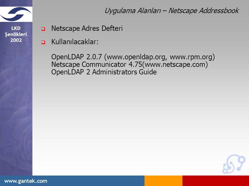LKD Şenlikleri 2002 www.gantek.com Uygulama Alanları – Netscape Addressbook  Netscape Adres Defteri  Kullanılacaklar: OpenLDAP 2.0.7 (www.openldap.org, www.rpm.org) Netscape Communicator 4.75(www.netscape.com) OpenLDAP 2 Administrators Guide