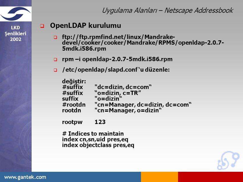 LKD Şenlikleri 2002 www.gantek.com  OpenLDAP kurulumu  ftp://ftp.rpmfind.net/linux/Mandrake- devel/cooker/cooker/Mandrake/RPMS/openldap-2.0.7- 5mdk.i586.rpm  rpm –i openldap-2.0.7-5mdk.i586.rpm  /etc/openldap/slapd.conf 'u düzenle: değiştir: #suffix dc=dizin, dc=com #suffix o=dizin, c=TR suffix o=dizin #rootdn cn=Manager, dc=dizin, dc=com rootdn cn=Manager, o=dizin rootpw123 # Indices to maintain index cn,sn,uid pres,eq index objectclass pres,eq Uygulama Alanları – Netscape Addressbook