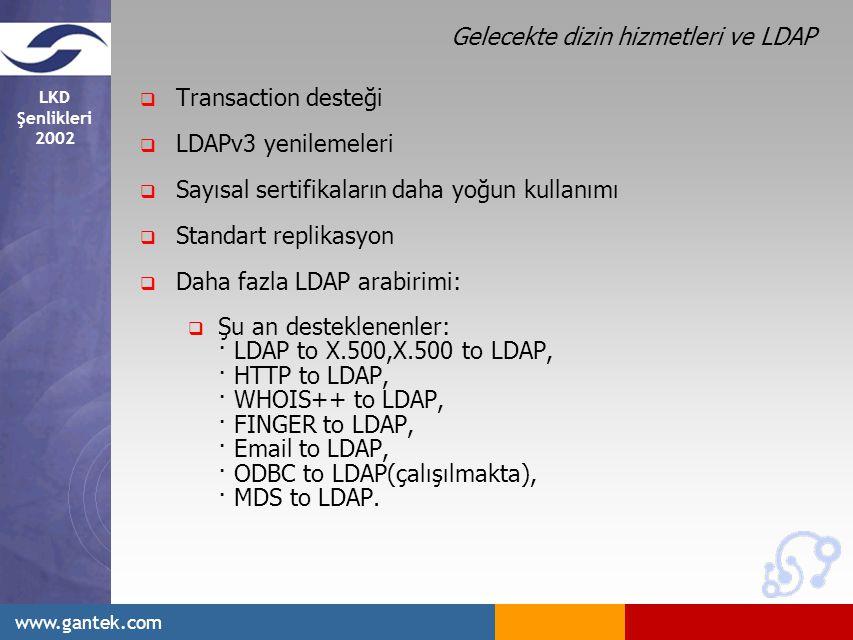 LKD Şenlikleri 2002 www.gantek.com Gelecekte dizin hizmetleri ve LDAP  Transaction desteği  LDAPv3 yenilemeleri  Sayısal sertifikaların daha yoğun kullanımı  Standart replikasyon  Daha fazla LDAP arabirimi:  Şu an desteklenenler: · LDAP to X.500,X.500 to LDAP, · HTTP to LDAP, · WHOIS++ to LDAP, · FINGER to LDAP, · Email to LDAP, · ODBC to LDAP(çalışılmakta), · MDS to LDAP.