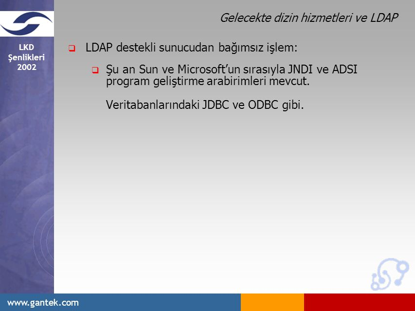 LKD Şenlikleri 2002 www.gantek.com Gelecekte dizin hizmetleri ve LDAP  LDAP destekli sunucudan bağımsız işlem:  Şu an Sun ve Microsoft'un sırasıyla JNDI ve ADSI program geliştirme arabirimleri mevcut.