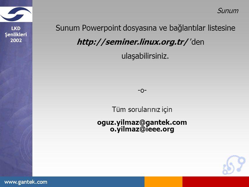 LKD Şenlikleri 2002 www.gantek.com Sunum Sunum Powerpoint dosyasına ve bağlantılar listesine http://seminer.linux.org.tr/ 'den ulaşabilirsiniz.