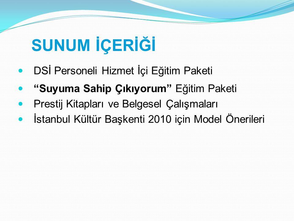Türkiye'nin Temiz Su Kaynakları Prestij Kitabı, Belgesel Filmi ve Fotoğraf Sergisi  Prestij Kitabı  Ülkemizdeki mevcut kaynak sularının envanterini içeren  Bölgeler ve şehirler bazında detaylı görsellerle desteklenen  Su kaynaklarının kimyasal özelliklerine ilişkin bilgilerin yer aldığı  Belgesel ve Konulu Filmler  Prestij kitabındaki verileri temel alan 40 dakikalık bir tanıtım filmi  Su kaybı nedeniyle çehresi değişmiş bir yöreye ilişkin bir konulu film  Fotoğraf Sergileri  Prestij kitabındaki fotoğrafların DSİ Bölge Müdürlükleri tarafından sergileneceği organizasyonlar  Anadolu Su Medeniyeti konulu arşiv temelli kitap