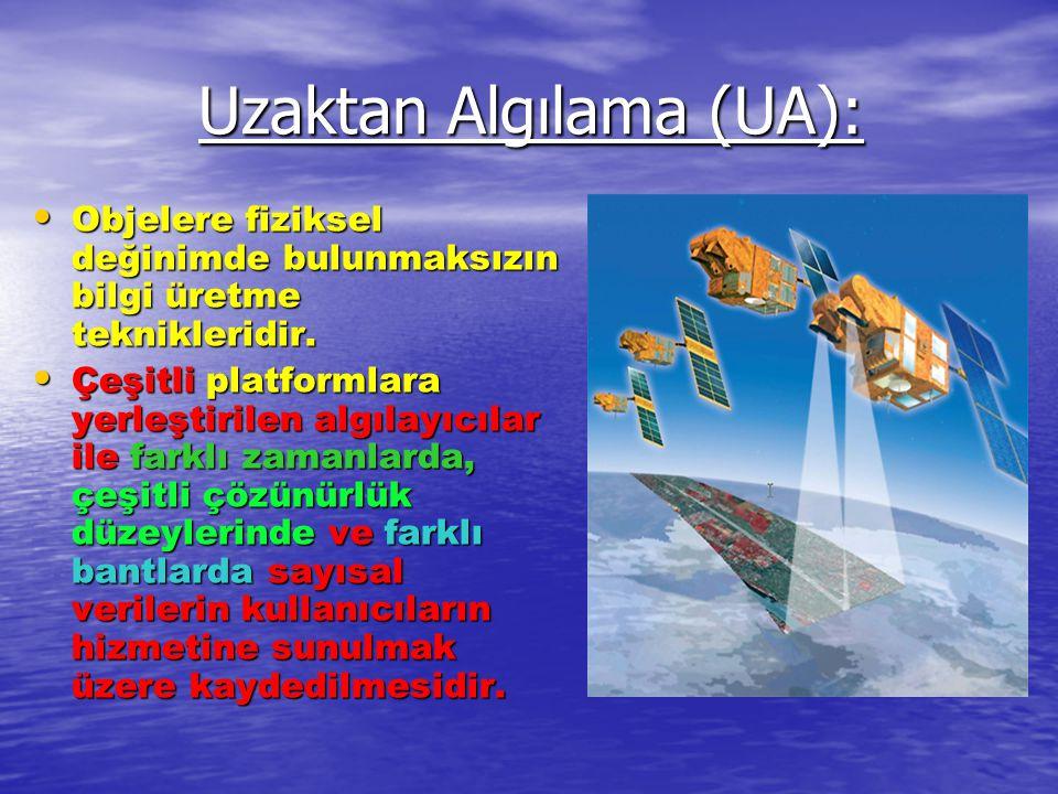 Uzaktan Algılama (UA): • Objelere fiziksel değinimde bulunmaksızın bilgi üretme teknikleridir. • Çeşitli platformlara yerleştirilen algılayıcılar ile