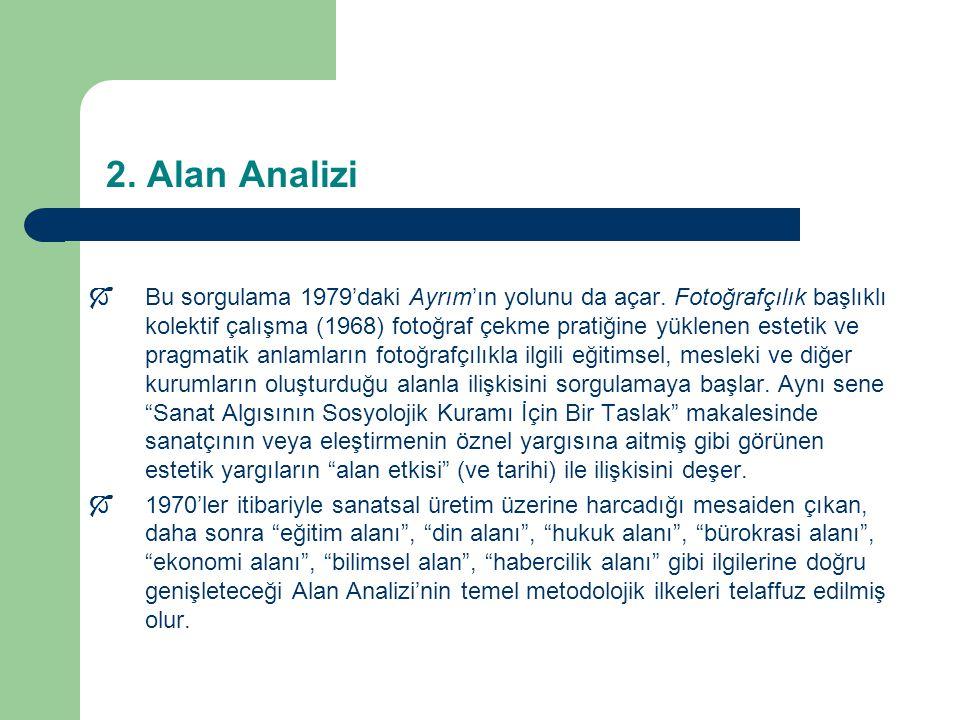 2.Alan Analizi  Bu sorgulama 1979'daki Ayrım'ın yolunu da açar.