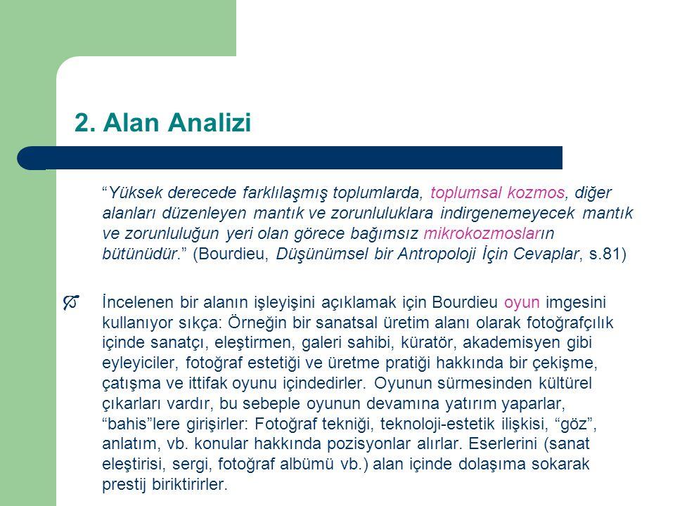 """2. Alan Analizi """"Yüksek derecede farklılaşmış toplumlarda, toplumsal kozmos, diğer alanları düzenleyen mantık ve zorunluluklara indirgenemeyecek mantı"""