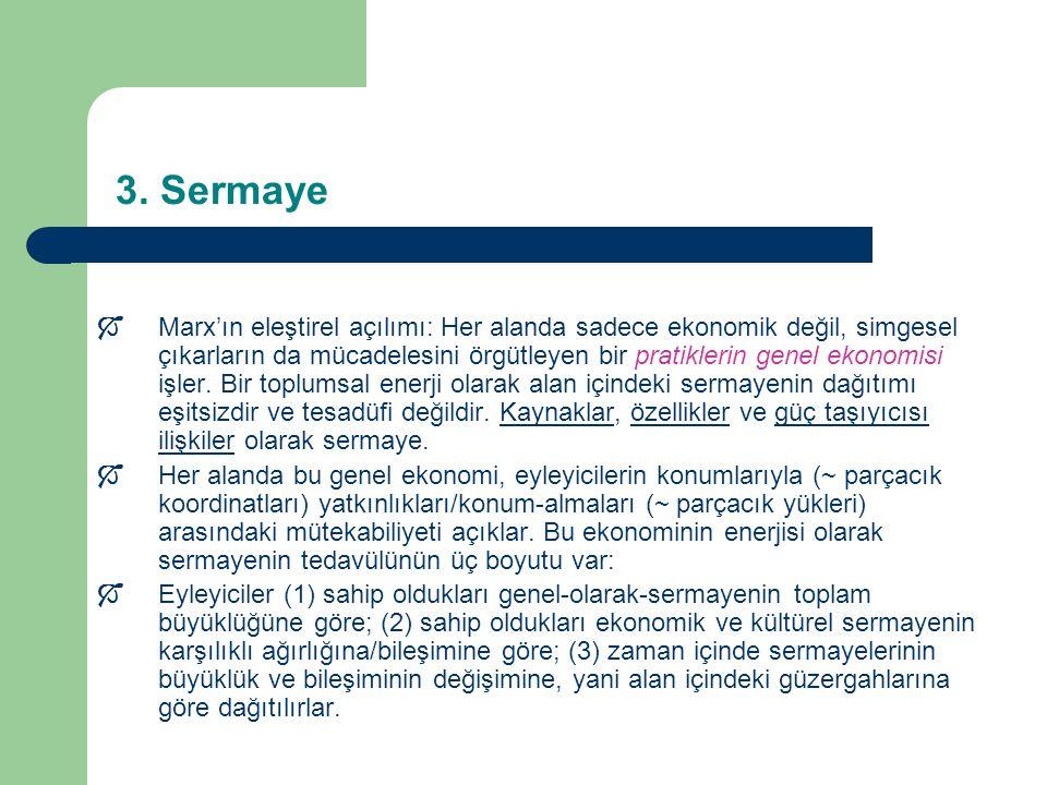 3. Sermaye  Marx'ın eleştirel açılımı: Her alanda sadece ekonomik değil, simgesel çıkarların da mücadelesini örgütleyen bir pratiklerin genel ekonomi