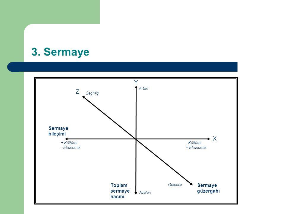 Y X Gelecek Geçmiş Sermaye güzergahı - Kültürel + Ekonomik + Kültürel - Ekonomik Sermaye bileşimi Artan Azalan Toplam sermaye hacmi 3.