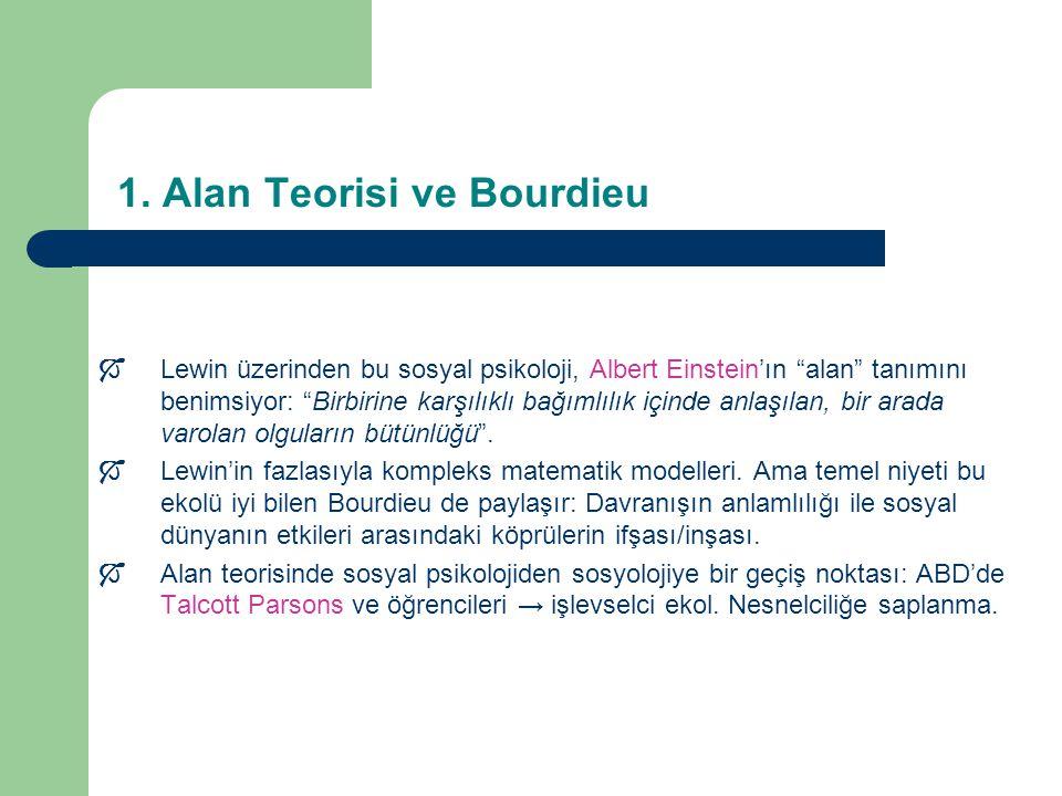 """1. Alan Teorisi ve Bourdieu  Lewin üzerinden bu sosyal psikoloji, Albert Einstein'ın """"alan"""" tanımını benimsiyor: """"Birbirine karşılıklı bağımlılık içi"""