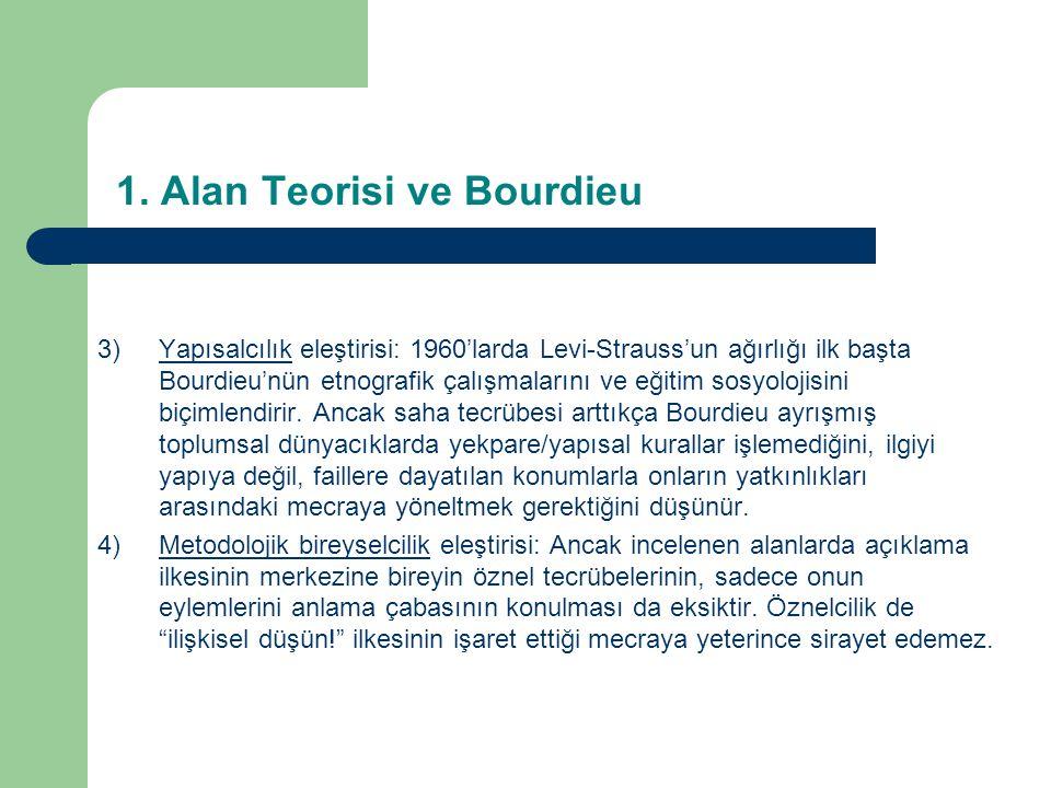 1. Alan Teorisi ve Bourdieu 3)Yapısalcılık eleştirisi: 1960'larda Levi-Strauss'un ağırlığı ilk başta Bourdieu'nün etnografik çalışmalarını ve eğitim s