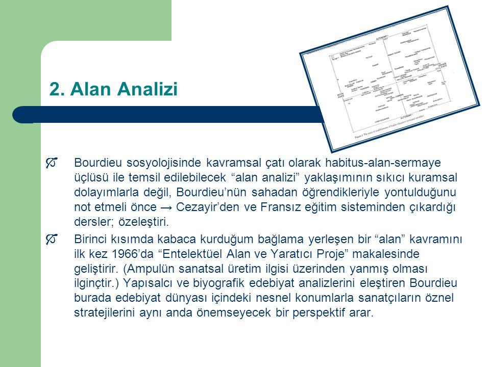 """2. Alan Analizi  Bourdieu sosyolojisinde kavramsal çatı olarak habitus-alan-sermaye üçlüsü ile temsil edilebilecek """"alan analizi"""" yaklaşımının sıkıcı"""