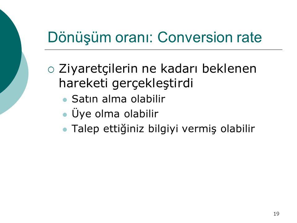 19 Dönüşüm oranı: Conversion rate  Ziyaretçilerin ne kadarı beklenen hareketi gerçekleştirdi  Satın alma olabilir  Üye olma olabilir  Talep ettiğiniz bilgiyi vermiş olabilir
