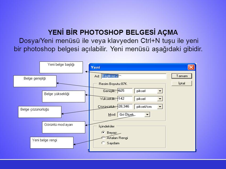 Görüntü mod ayarı Yeni belge rengi Belge genişliği Belge çözünürlüğü Belge yüksekliği Yeni belge başlığı YENİ BİR PHOTOSHOP BELGESİ AÇMA Dosya/Yeni menüsü ile veya klavyeden Ctrl+N tuşu ile yeni bir photoshop belgesi açılabilir.