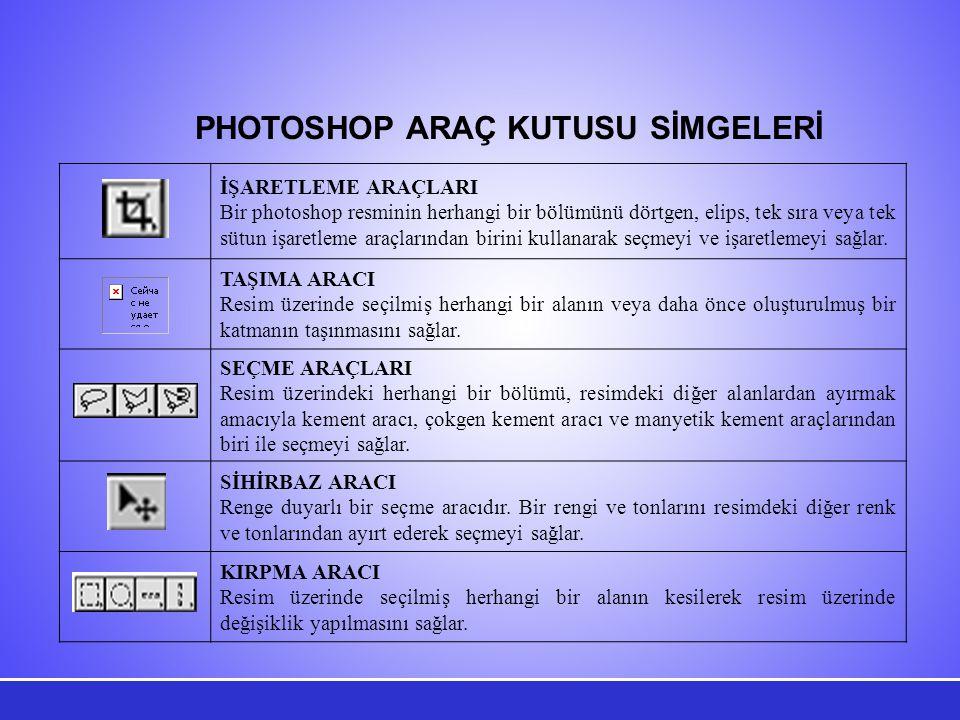 PHOTOSHOP ARAÇ KUTUSU SİMGELERİ İŞARETLEME ARAÇLARI Bir photoshop resminin herhangi bir bölümünü dörtgen, elips, tek sıra veya tek sütun işaretleme araçlarından birini kullanarak seçmeyi ve işaretlemeyi sağlar.