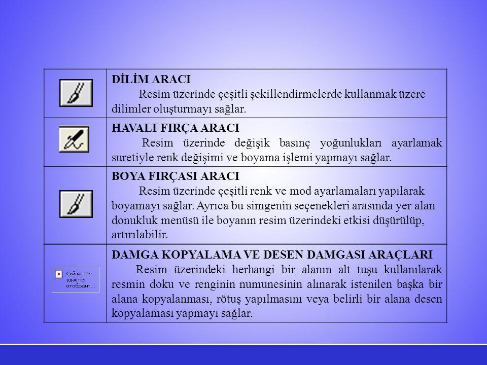 DİLİM ARACI Resim üzerinde çeşitli şekillendirmelerde kullanmak üzere dilimler oluşturmayı sağlar.