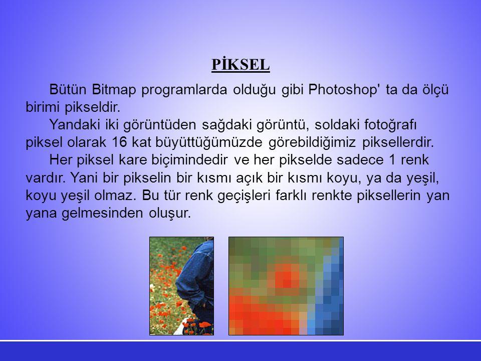PİKSEL Bütün Bitmap programlarda olduğu gibi Photoshop ta da ölçü birimi pikseldir.