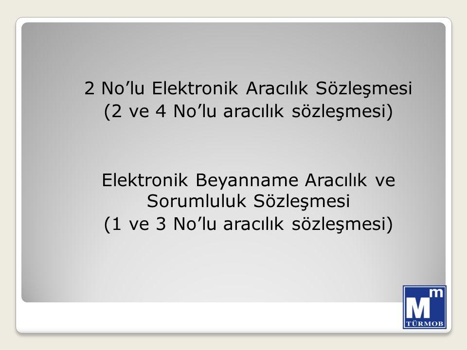 2 No'lu Elektronik Aracılık Sözleşmesi (2 ve 4 No'lu aracılık sözleşmesi) Elektronik Beyanname Aracılık ve Sorumluluk Sözleşmesi (1 ve 3 No'lu aracılı