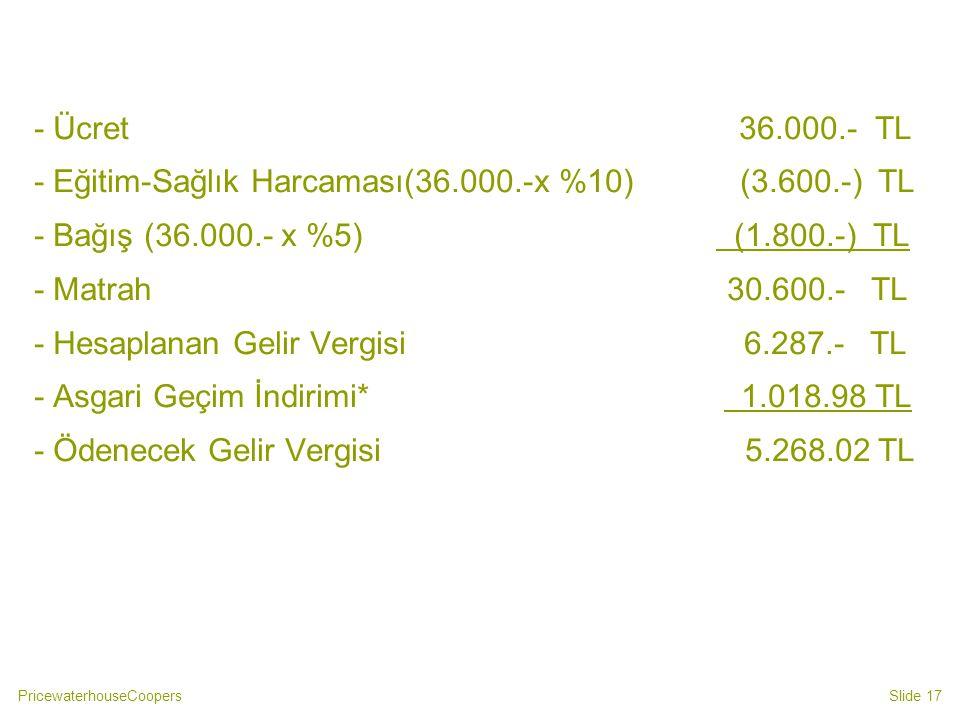 PricewaterhouseCoopersSlide 17 - Ücret 36.000.- TL - Eğitim-Sağlık Harcaması(36.000.-x %10) (3.600.-) TL - Bağış (36.000.- x %5) (1.800.-) TL - Matrah