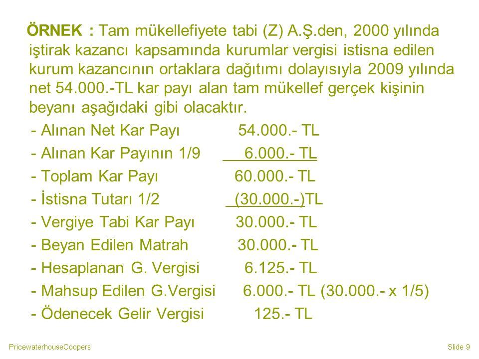 PricewaterhouseCoopersSlide 30 ÖRNEK 4: (B) şahsı 2009 yılı içinde aşağıda belirtilen kazanç ve iratları elde etmiştir.