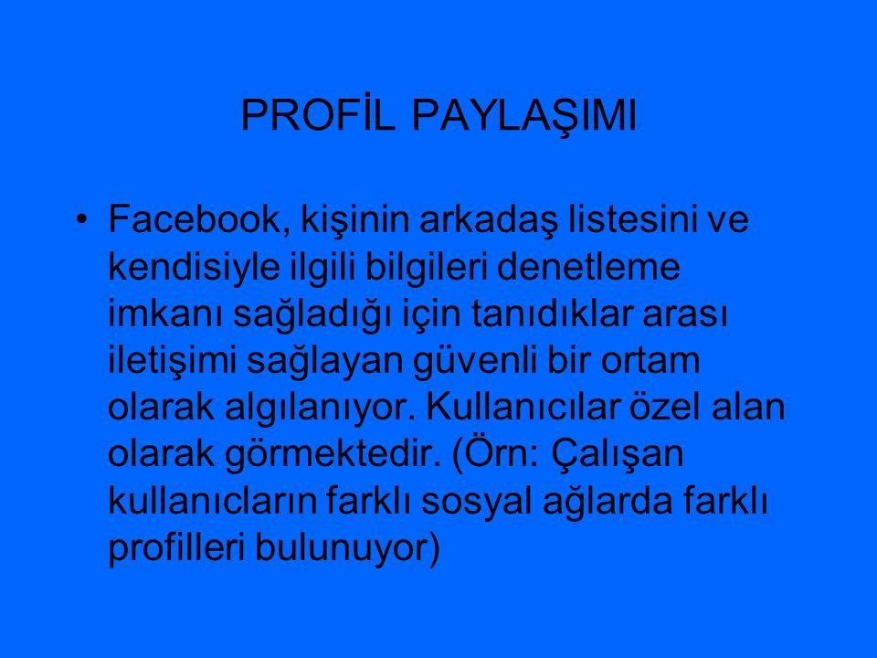 PROFİL PAYLAŞIMI •Facebook, kişinin arkadaş listesini ve kendisiyle ilgili bilgileri denetleme imkanı sağladığı için tanıdıklar arası iletişimi sağlay