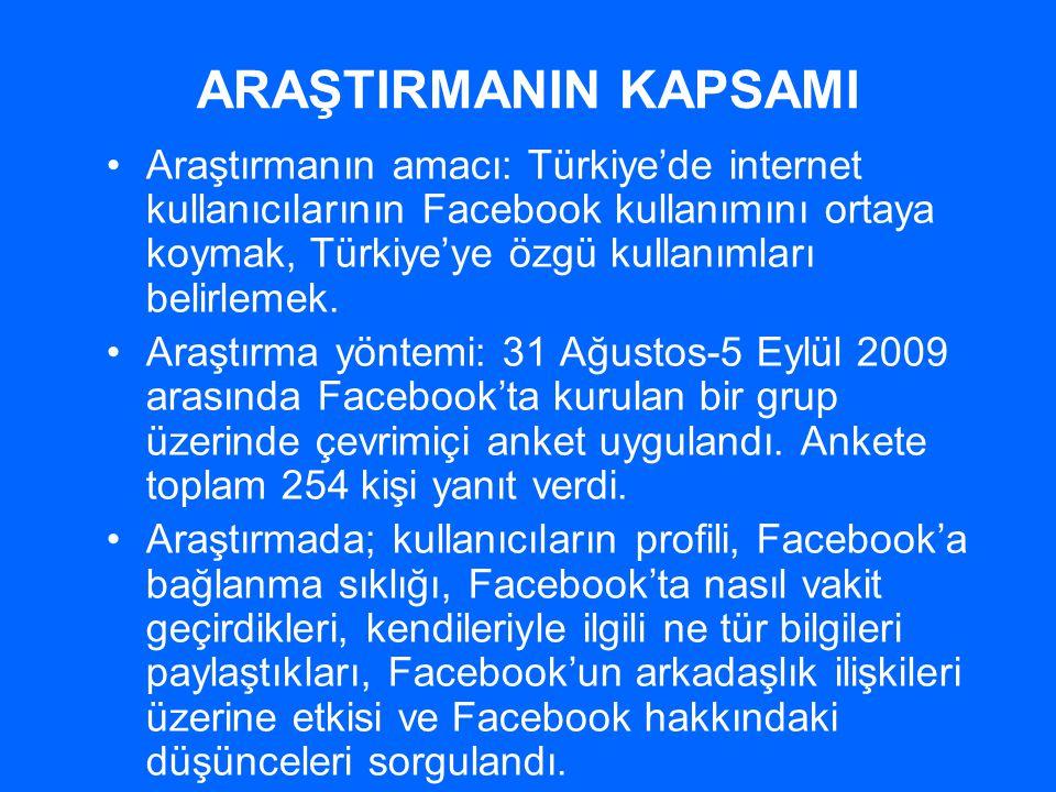 ARAŞTIRMANIN KAPSAMI •Araştırmanın amacı: Türkiye'de internet kullanıcılarının Facebook kullanımını ortaya koymak, Türkiye'ye özgü kullanımları belirl