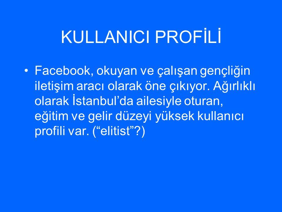 KULLANICI PROFİLİ •Facebook, okuyan ve çalışan gençliğin iletişim aracı olarak öne çıkıyor. Ağırlıklı olarak İstanbul'da ailesiyle oturan, eğitim ve g