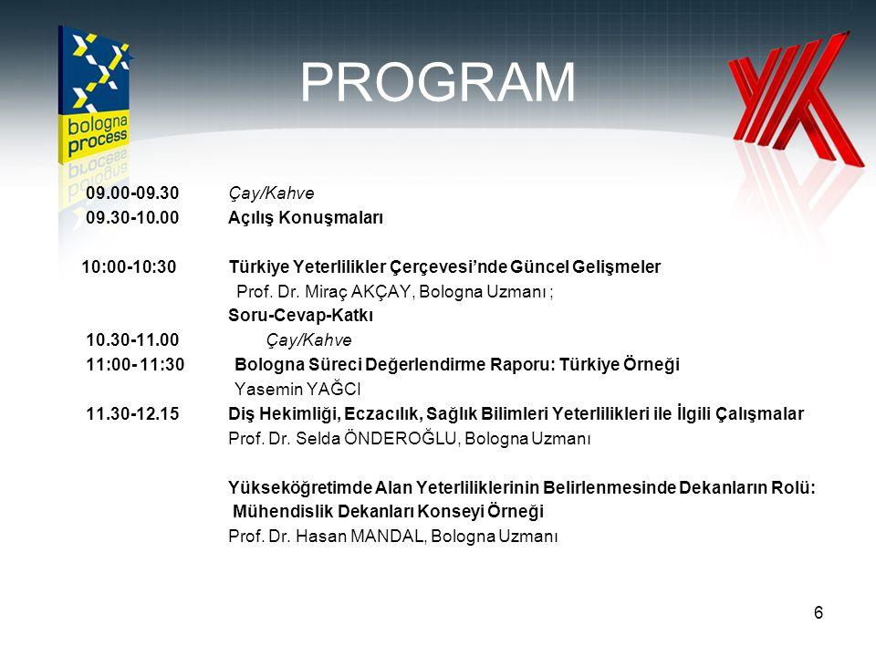 PROGRAM 09.00-09.30 Çay/Kahve 09.30-10.00Açılış Konuşmaları 10:00-10:30 Türkiye Yeterlilikler Çerçevesi'nde Güncel Gelişmeler Prof. Dr. Miraç AKÇAY, B