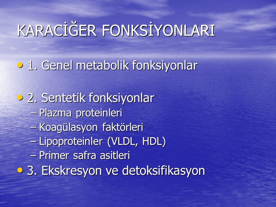KARACİĞER FONKSİYONLARI • 1. Genel metabolik fonksiyonlar • 2. Sentetik fonksiyonlar –Plazma proteinleri –Koagülasyon faktörleri –Lipoproteinler (VLDL