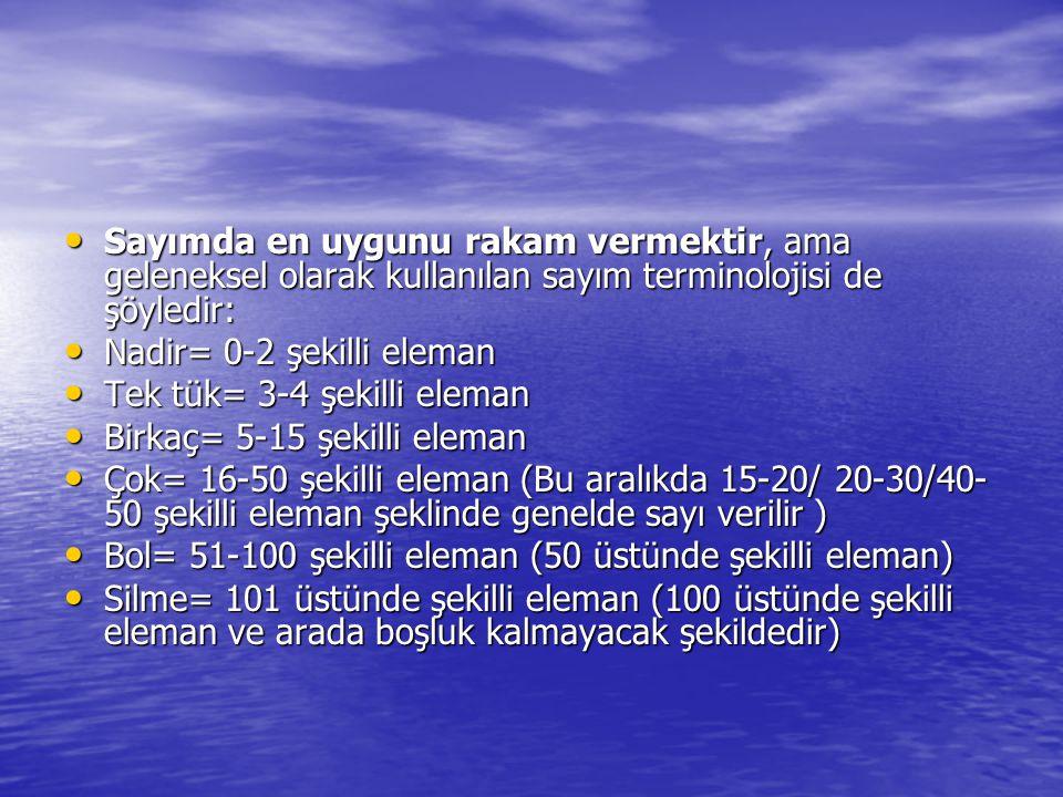 • Sayımda en uygunu rakam vermektir, ama geleneksel olarak kullanılan sayım terminolojisi de şöyledir: • Nadir= 0-2 şekilli eleman • Tek tük= 3-4 şekilli eleman • Birkaç= 5-15 şekilli eleman • Çok= 16-50 şekilli eleman (Bu aralıkda 15-20/ 20-30/40- 50 şekilli eleman şeklinde genelde sayı verilir ) • Bol= 51-100 şekilli eleman (50 üstünde şekilli eleman) • Silme= 101 üstünde şekilli eleman (100 üstünde şekilli eleman ve arada boşluk kalmayacak şekildedir)