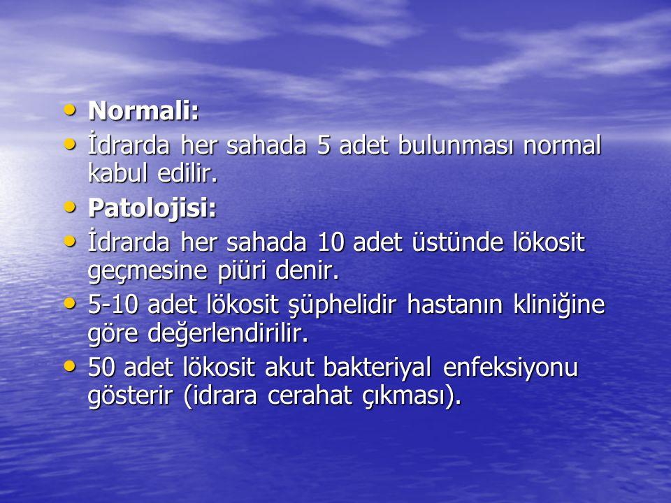 • Normali: • İdrarda her sahada 5 adet bulunması normal kabul edilir. • Patolojisi: • İdrarda her sahada 10 adet üstünde lökosit geçmesine piüri denir