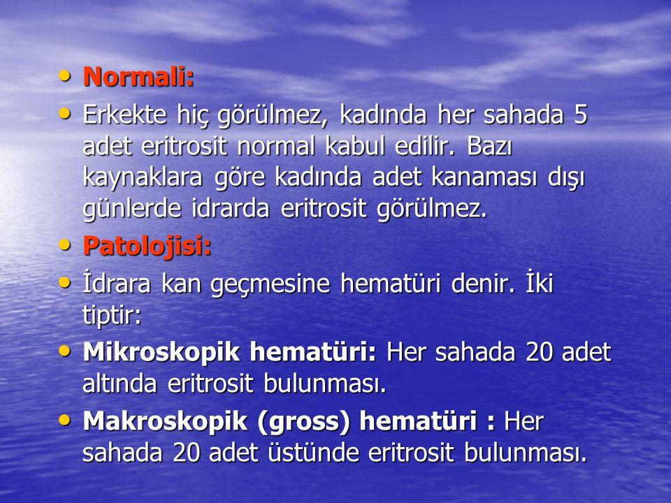 • Normali: • Erkekte hiç görülmez, kadında her sahada 5 adet eritrosit normal kabul edilir. Bazı kaynaklara göre kadında adet kanaması dışı günlerde i