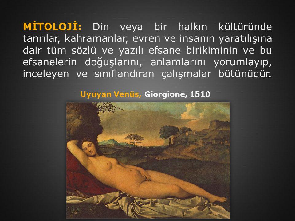 MİTOLOJİ: Din veya bir halkın kültüründe tanrılar, kahramanlar, evren ve insanın yaratılışına dair tüm sözlü ve yazılı efsane birikiminin ve bu efsane