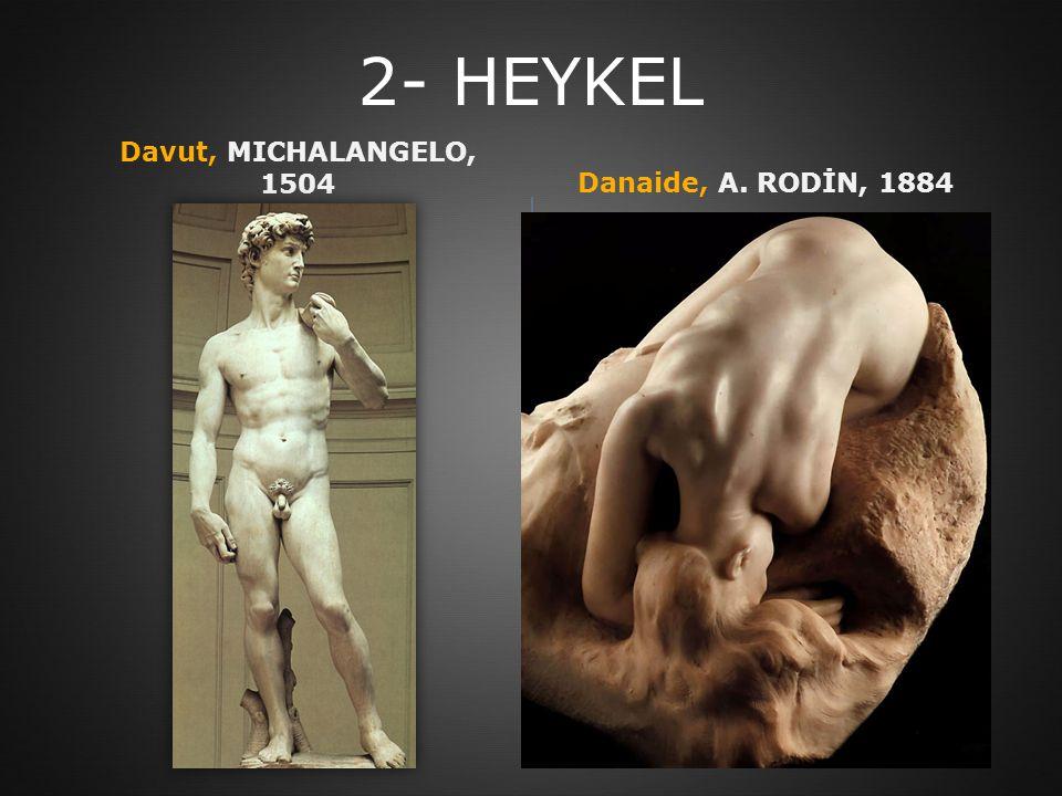 2- HEYKEL Davut, MICHALANGELO, 1504Danaide, A. RODİN, 1884