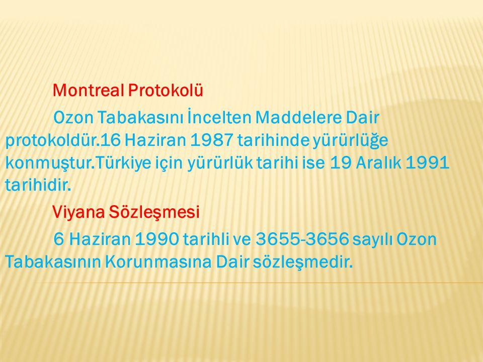 Montreal Protokolü Ozon Tabakasını İncelten Maddelere Dair protokoldür.16 Haziran 1987 tarihinde yürürlüğe konmuştur.Türkiye için yürürlük tarihi ise
