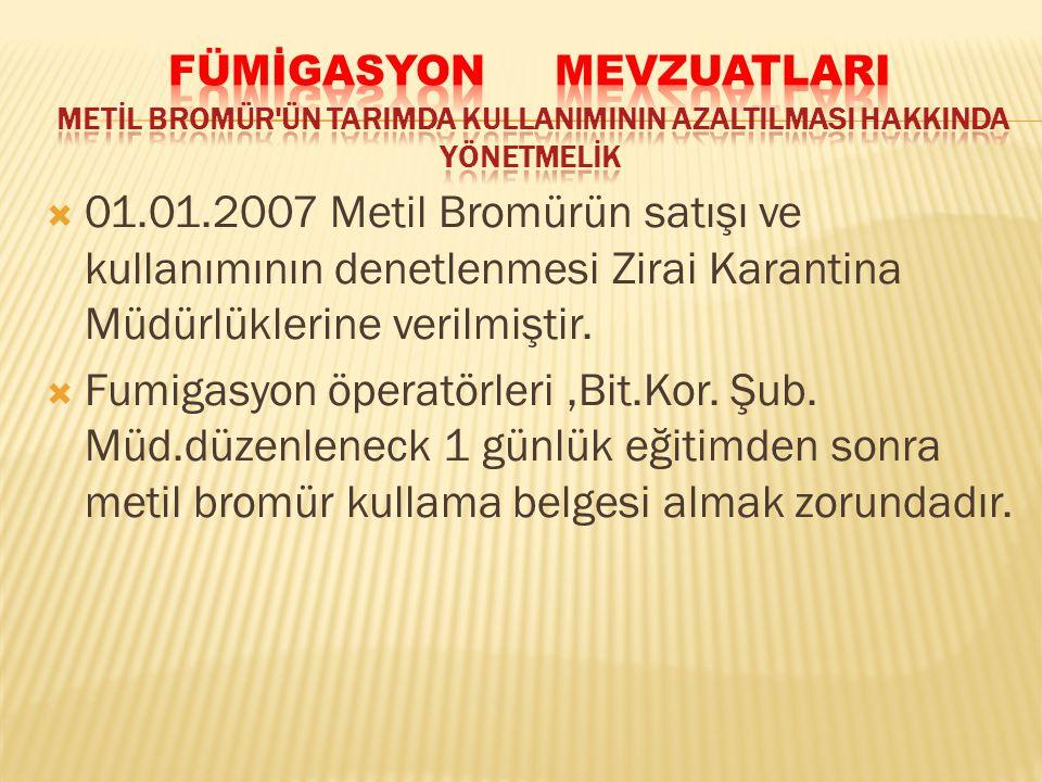 01.01.2007 Metil Bromürün satışı ve kullanımının denetlenmesi Zirai Karantina Müdürlüklerine verilmiştir.  Fumigasyon öperatörleri,Bit.Kor. Şub. Mü