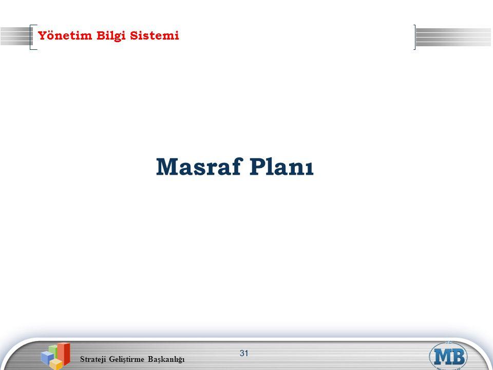 Strateji Geliştirme Başkanlığı 31 Masraf Planı Yönetim Bilgi Sistemi