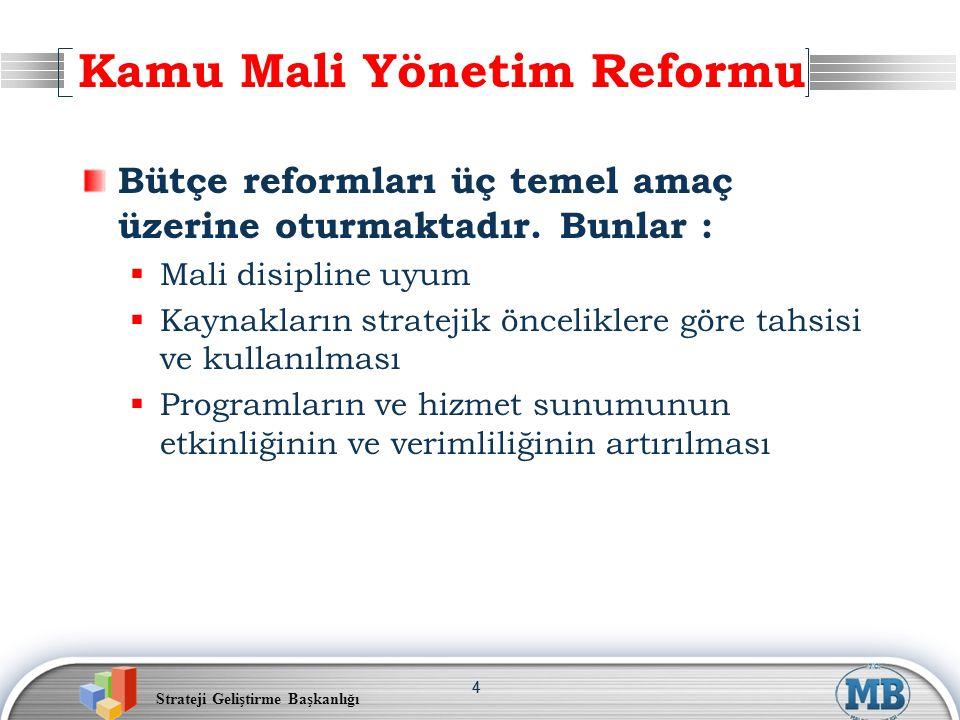Strateji Geliştirme Başkanlığı 44 Bütçe reformları üç temel amaç üzerine oturmaktadır. Bunlar :  Mali disipline uyum  Kaynakların stratejik öncelikl