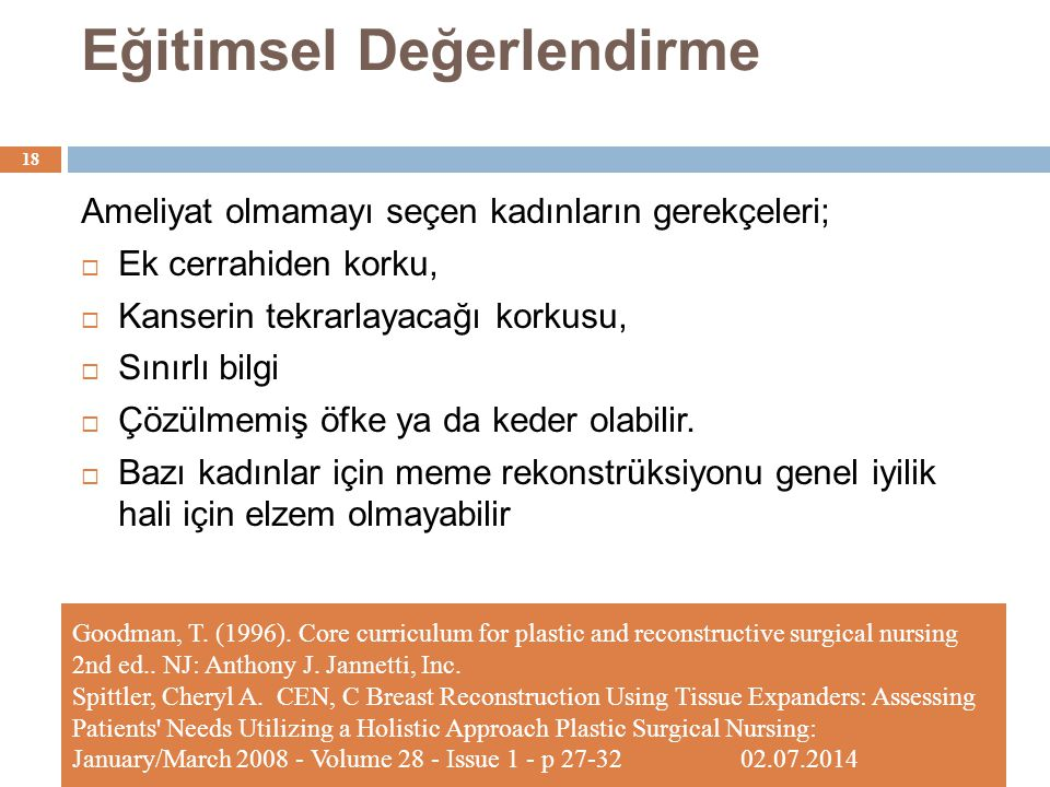 Eğitimsel Değerlendirme Goodman, T. (1996). Core curriculum for plastic and reconstructive surgical nursing 2nd ed.. NJ: Anthony J. Jannetti, Inc. Spi