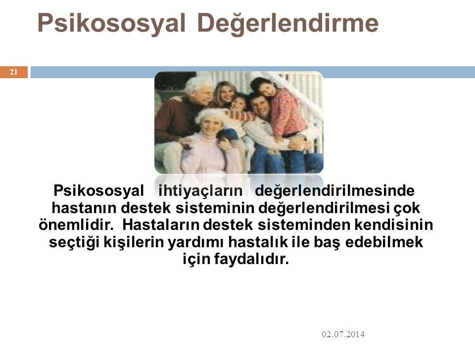 Psikososyal Değerlendirme 02.07.2014 21 Psikososyal ihtiyaçların değerlendirilmesinde hastanın destek sisteminin değerlendirilmesi çok önemlidir.