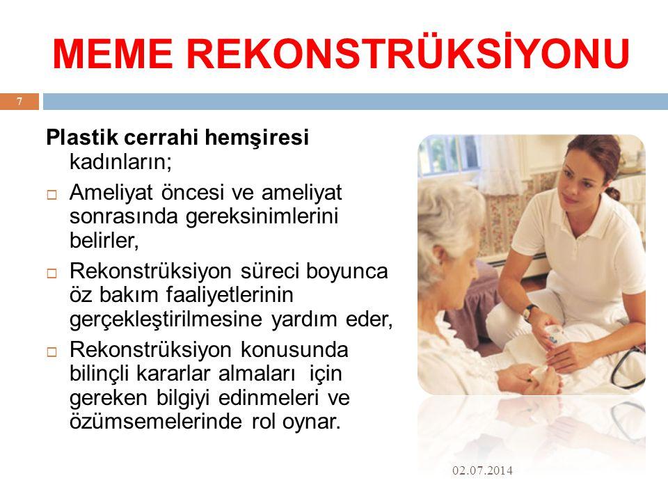 MEME REKONSTRÜKSİYONU 02.07.2014 7 Plastik cerrahi hemşiresi kadınların;  Ameliyat öncesi ve ameliyat sonrasında gereksinimlerini belirler,  Rekonstrüksiyon süreci boyunca öz bakım faaliyetlerinin gerçekleştirilmesine yardım eder,  Rekonstrüksiyon konusunda bilinçli kararlar almaları için gereken bilgiyi edinmeleri ve özümsemelerinde rol oynar.