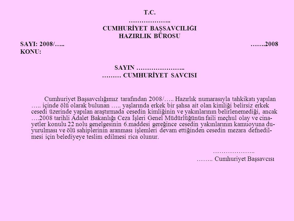 T.C. ……………….. CUMHURİYET BAŞSAVCILIĞI HAZIRLIK BÜROSU SAYI: 2008/….. …….2008 KONU: SAYIN ………………….. ……… CUMHURİYET SAVCISI Cumhuriyet Başsavcılığımız t