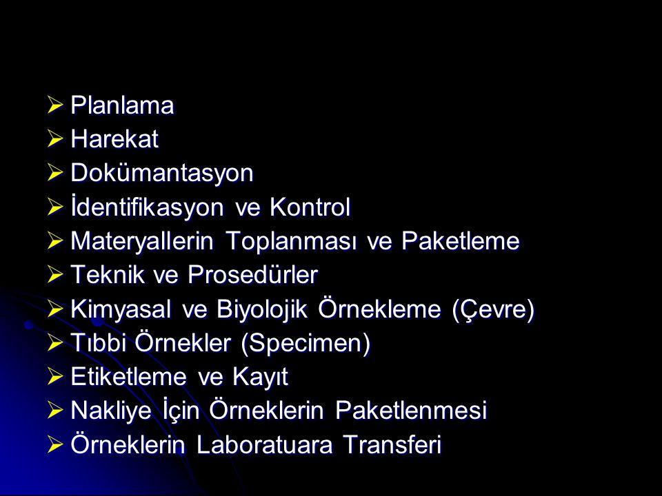  Planlama  Harekat  Dokümantasyon  İdentifikasyon ve Kontrol  Materyallerin Toplanması ve Paketleme  Teknik ve Prosedürler  Kimyasal ve Biyolojik Örnekleme (Çevre)  Tıbbi Örnekler (Specimen)  Etiketleme ve Kayıt  Nakliye İçin Örneklerin Paketlenmesi  Örneklerin Laboratuara Transferi