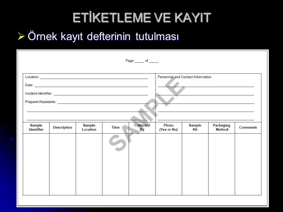 ETİKETLEME VE KAYIT  Örnek kayıt defterinin tutulması  En dış örnek kutusunun etiketlenmesi