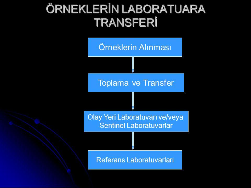ÖRNEKLERİN LABORATUARA TRANSFERİ Örneklerin Alınması Toplama ve Transfer Olay Yeri Laboratuvarı ve/veya Sentinel Laboratuvarlar Referans Laboratuvarları