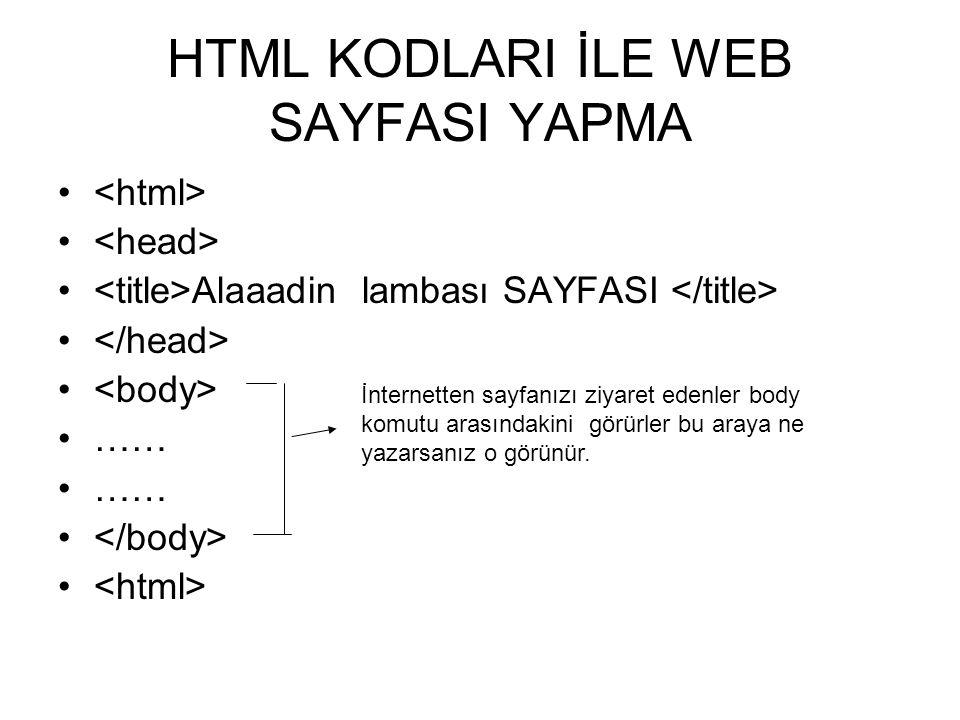 HTML KODLARI İLE WEB SAYFASI YAPMA • • Alaaadin lambası SAYFASI • •…… • İnternetten sayfanızı ziyaret edenler body komutu arasındakini görürler bu araya ne yazarsanız o görünür.