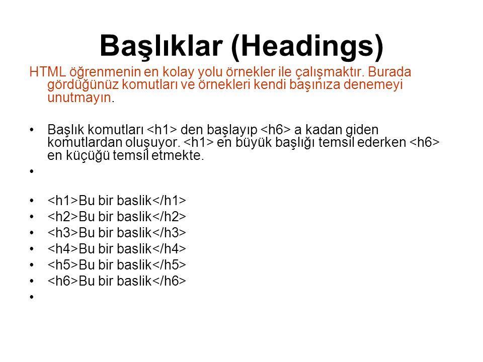 Başlıklar (Headings) HTML öğrenmenin en kolay yolu örnekler ile çalışmaktır.
